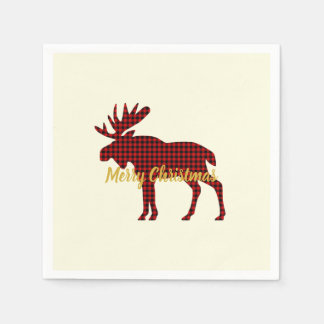 Moose Plaid Ski Lodge Holiday Party Napkins Paper Napkins
