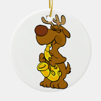 Moose playing the saxophone ceramic ornament