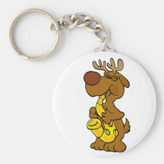 Moose playing the saxophone key ring