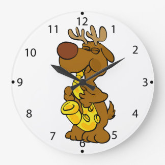 Moose playing the saxophone large clock