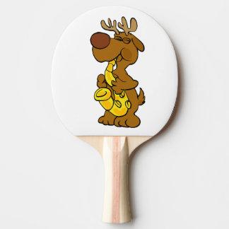 Moose playing the saxophone ping pong paddle