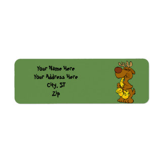 Moose playing the saxophone return address label