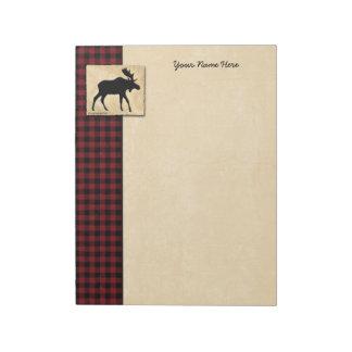 Moose Red Black Check Border Notepad