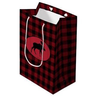 Moose Red Black Check Medium Gift Bag
