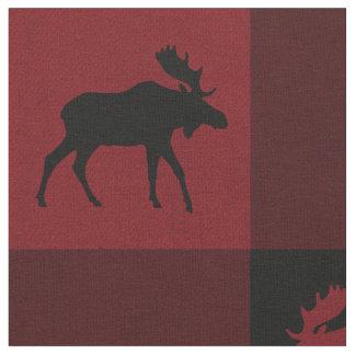 Moose Red Black Check Plaid Fabric