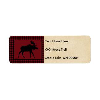 Moose Red Black Check Tan Return Address Label