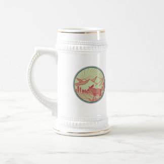 Moose River Mountains Sun Circle Retro Beer Stein