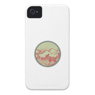Moose River Mountains Sun Circle Retro Case-Mate iPhone 4 Cases