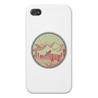 Moose River Mountains Sun Circle Retro Covers For iPhone 4