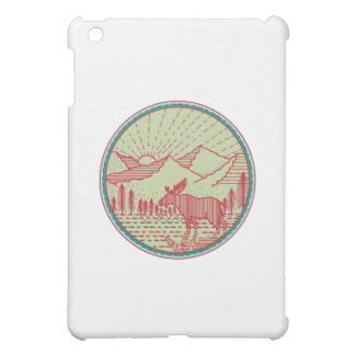 Moose River Mountains Sun Circle Retro iPad Mini Cover