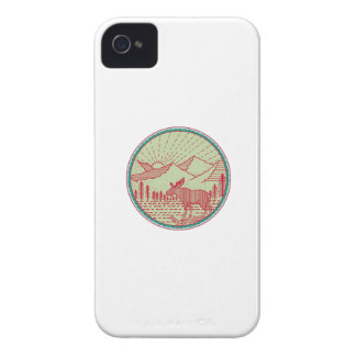 Moose River Mountains Sun Circle Retro iPhone 4 Case-Mate Cases