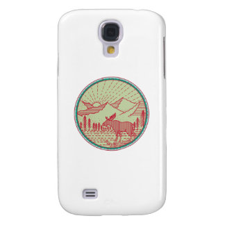 Moose River Mountains Sun Circle Retro Samsung Galaxy S4 Covers