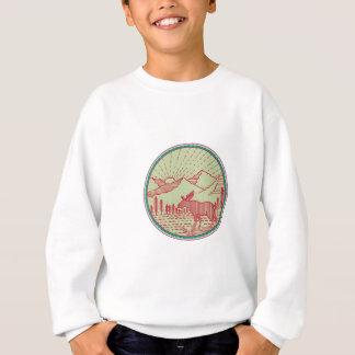 Moose River Mountains Sun Circle Retro Sweatshirt