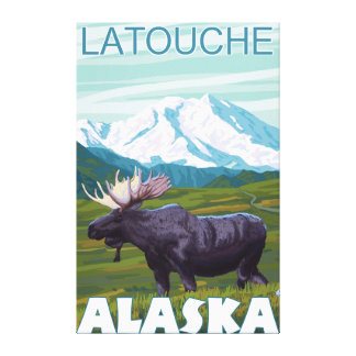 Moose Scene - Latouche Alaska Gallery Wrap Canvas