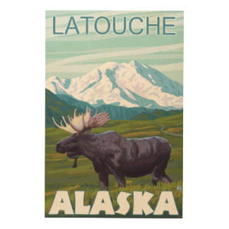 Moose Scene - Latouche, Alaska Wood Canvases