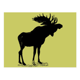 Moose Silhouette Any Color Postcard