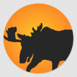 Moose Silhouette Classic Round Sticker
