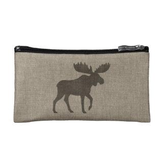 Moose Silhouette | Faux Linen Burlap Makeup Bags