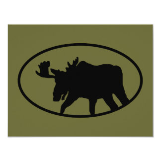 Moose Silhouette 11 Cm X 14 Cm Invitation Card