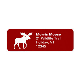 Moose Silhouette on Red Return Address Labels