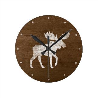 Moose Silhouette Round Clock