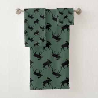 Moose Silhouettes on Green Bath Towel Set