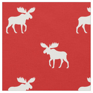 Moose Silhouettes Pattern Red Fabric