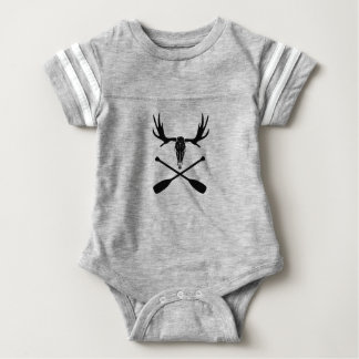 Moose Skull and Crossed Paddles Baby Bodysuit