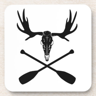 Moose Skull and Crossed Paddles Coaster