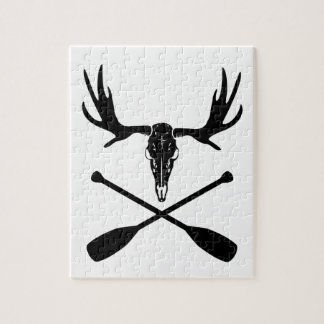 Moose Skull and Crossed Paddles Jigsaw Puzzle