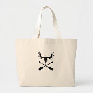Moose Skull and Crossed Paddles Large Tote Bag
