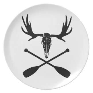 Moose Skull and Crossed Paddles Plate
