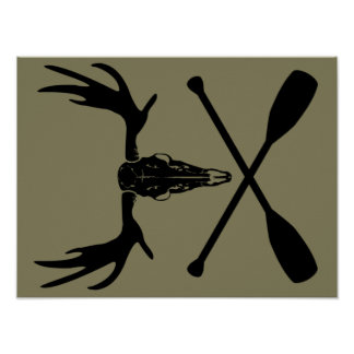 Moose Skull and Crossed Paddles Poster