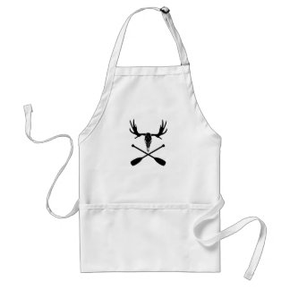Moose Skull and Crossed Paddles Standard Apron