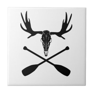 Moose Skull and Crossed Paddles Tile