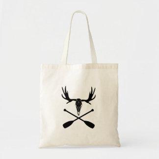 Moose Skull and Crossed Paddles Tote Bag