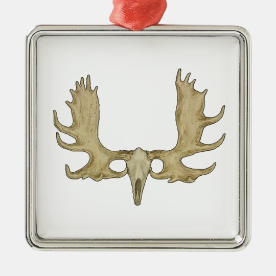 Moose Skull - Antlers Illustration Silver-Colored Square Decoration
