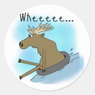 Moose Snow  Tubing Classic Round Sticker