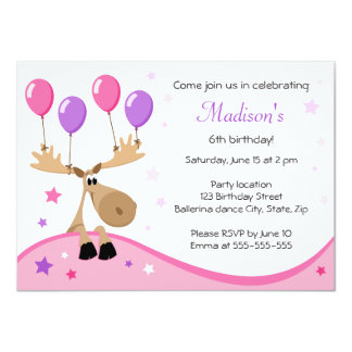 Moose with balloons fun girly kids birthday party card