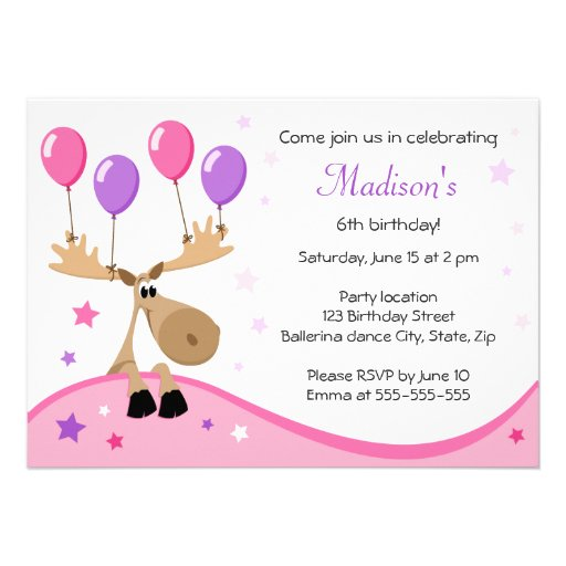 Moose with balloons fun girly kids birthday party personalized invitation