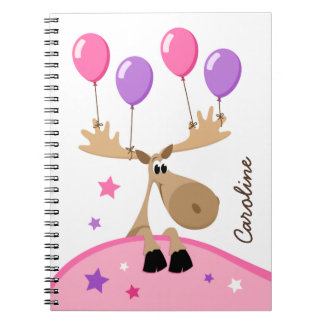 Moose with balloons fun girly kids personalized notebook