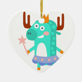 Moose With Party Attributes Girly Stylized Funky Ceramic Ornament
