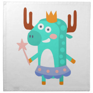 Moose With Party Attributes Girly Stylized Funky Napkin