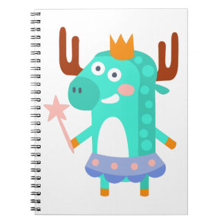 Moose With Party Attributes Girly Stylized Funky Notebook