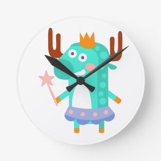 Moose With Party Attributes Girly Stylized Funky Round Clock