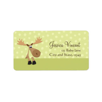 Moose with yellow balloons baby shower label