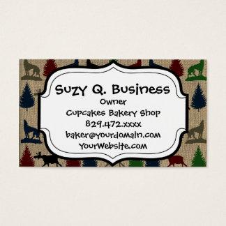 Moose Wolf Pine Tree Rustic Burlap Print Business Card