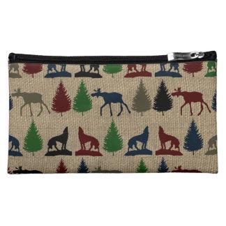 Moose Wolf Pine Tree Rustic Burlap Print Cosmetics Bags