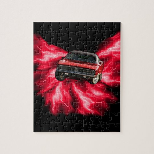 Mopar: '69 Charger on red lightning Jigsaw Puzzle