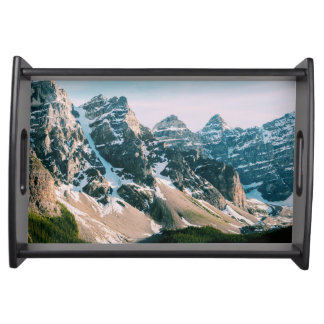 Moraine Lake Mountains in Alberta, Canada Serving Tray